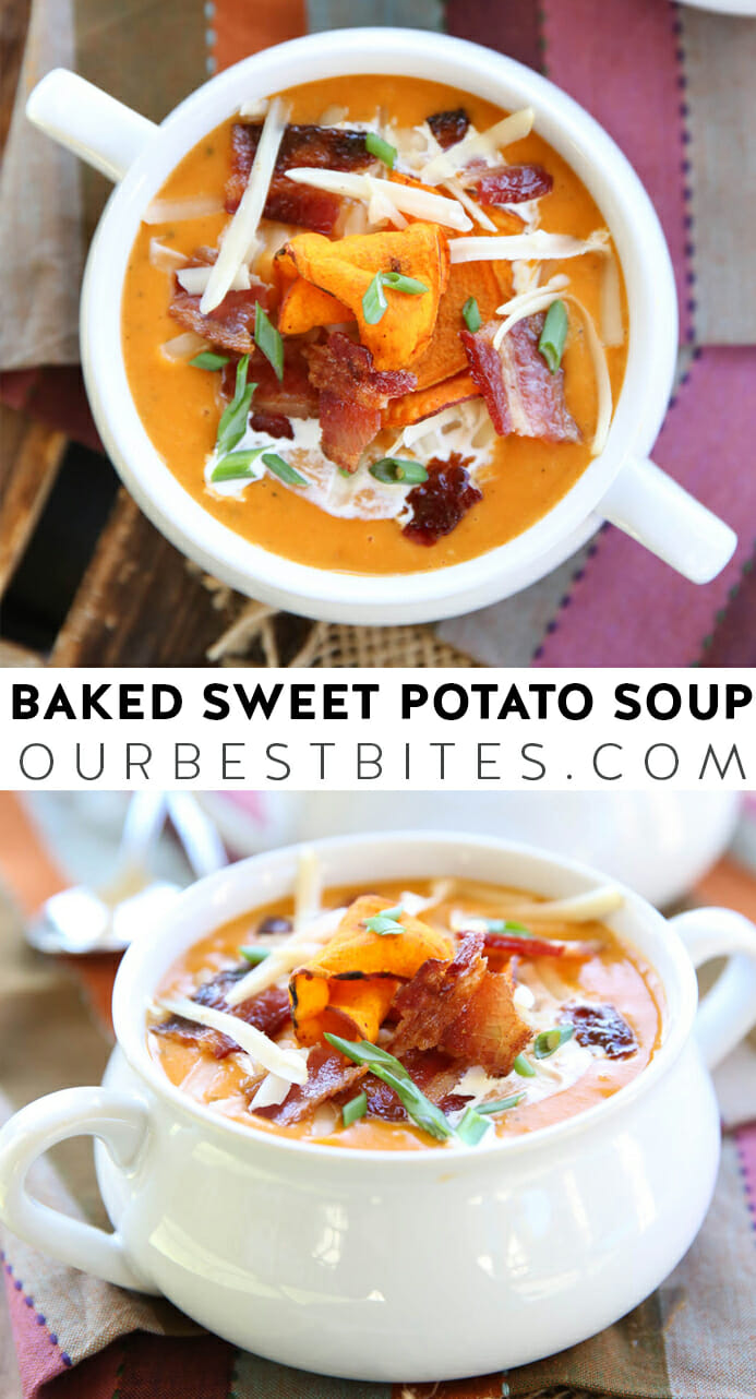 Soup Recipes- Baked Sweet Potato Soup from Our Best Bites