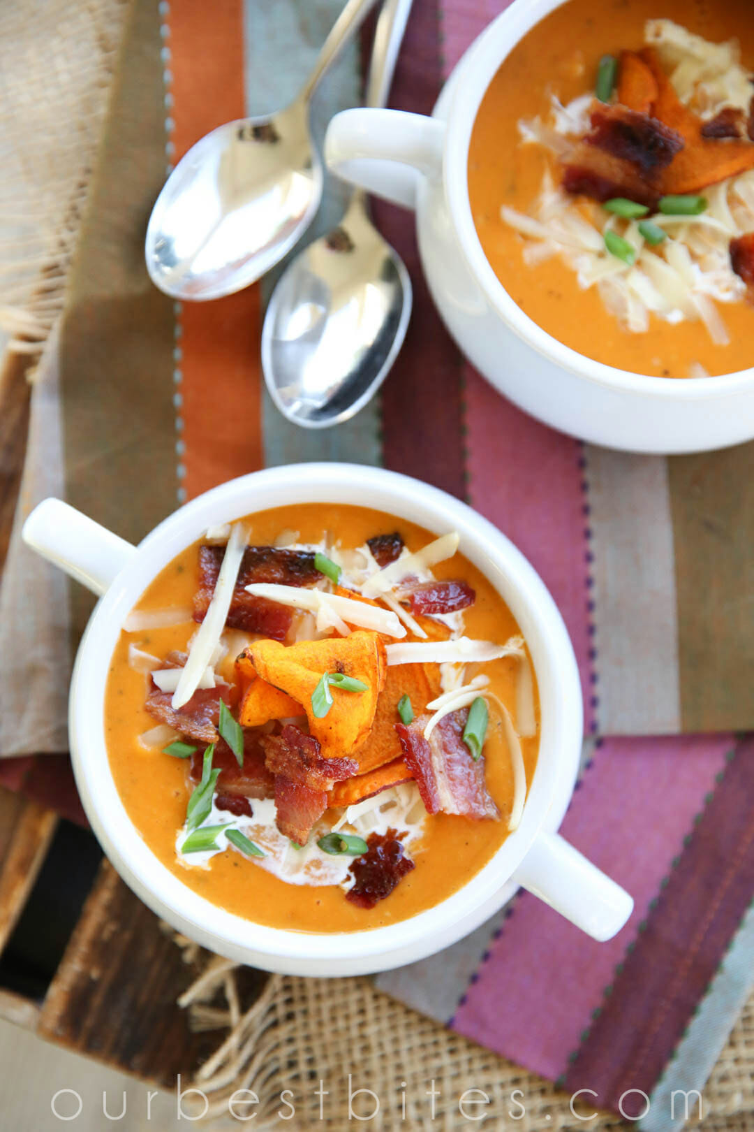 Soup Recipes- Baked Sweet Potato Soup by Our Best Bites