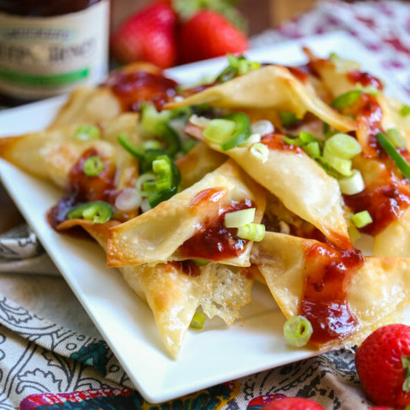 Brie Wontons with Strawberry-Jalapeño Jam