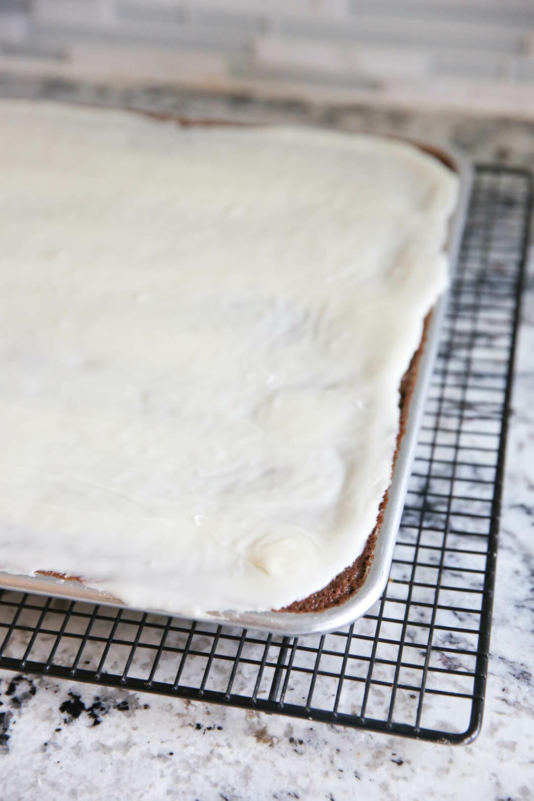 Peppermint Bark Sheet Cake
