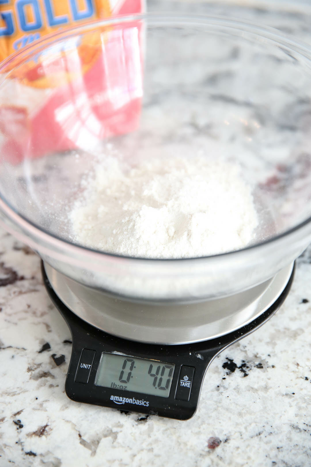 Best Biscuit Recipe weighing flour