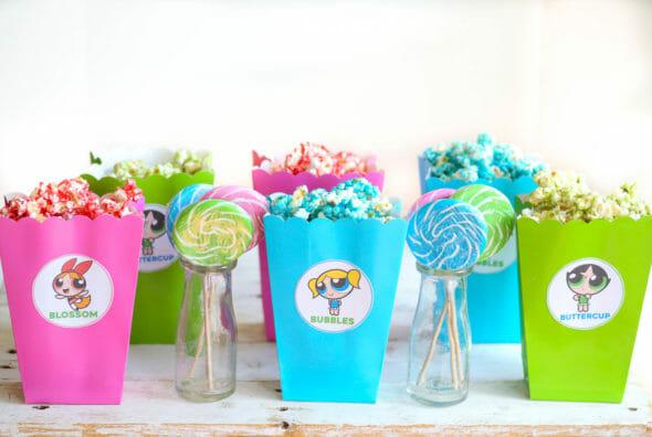 Powerpuff Girls Popcorn & Popcorn Box Printables with lollypops