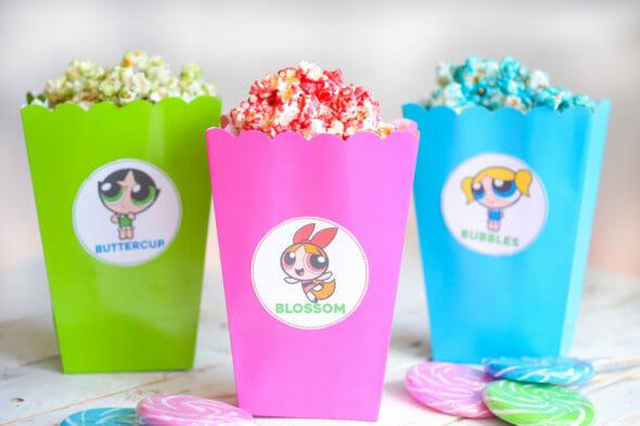 Powerpuff Girls Popcorn & Popcorn Box Printables