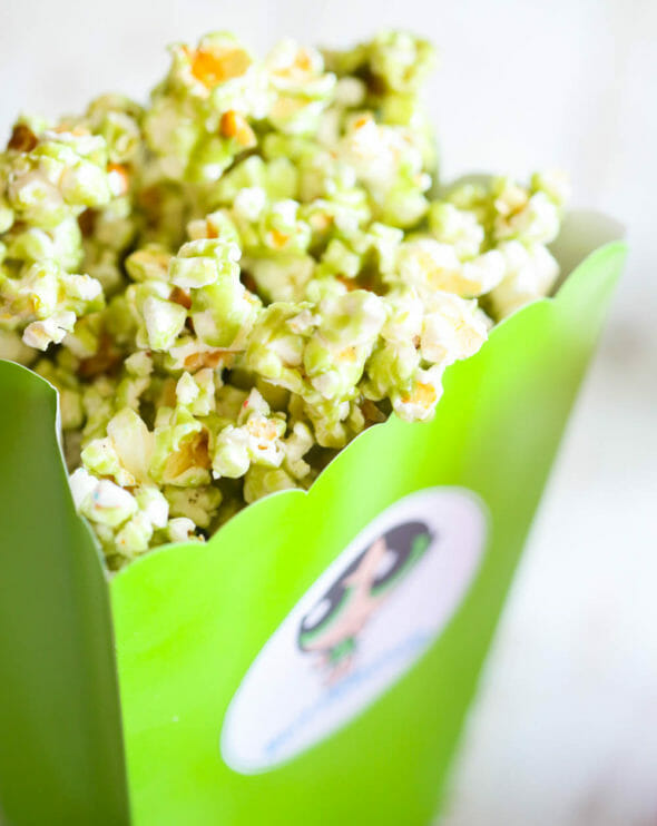 green popcorn in green box