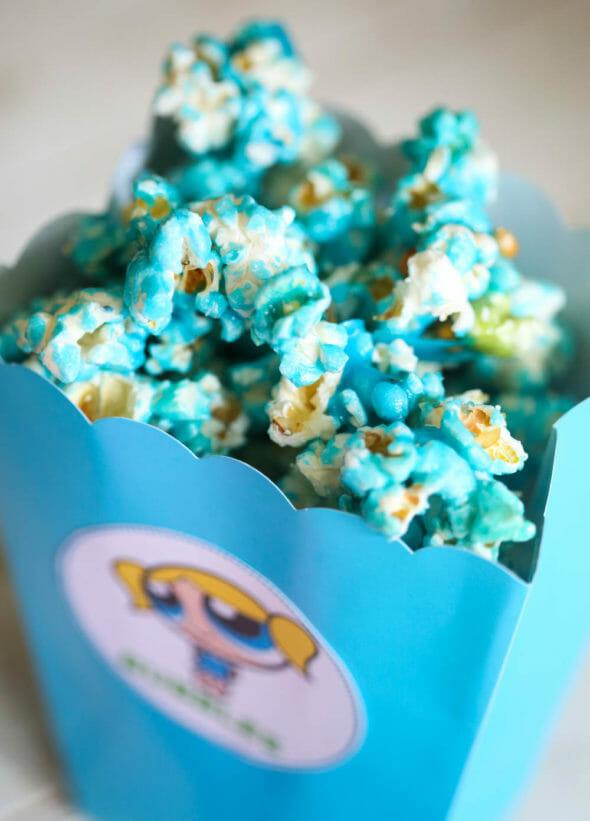 blue popcorn in blue box