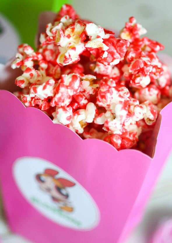 red popcorn in pink box