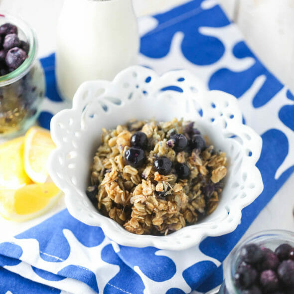 Blueberry Baked Oatmeal with Lemon and Ginger