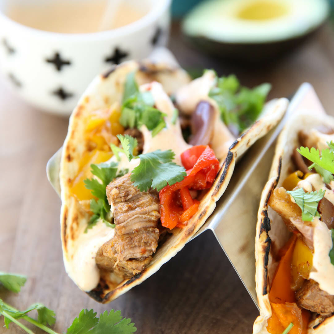 Slowcooker Steak Fajitas with Chili-Lime Cream