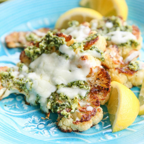 Roasted Cauliflower Steaks with Pesto and Mozarella