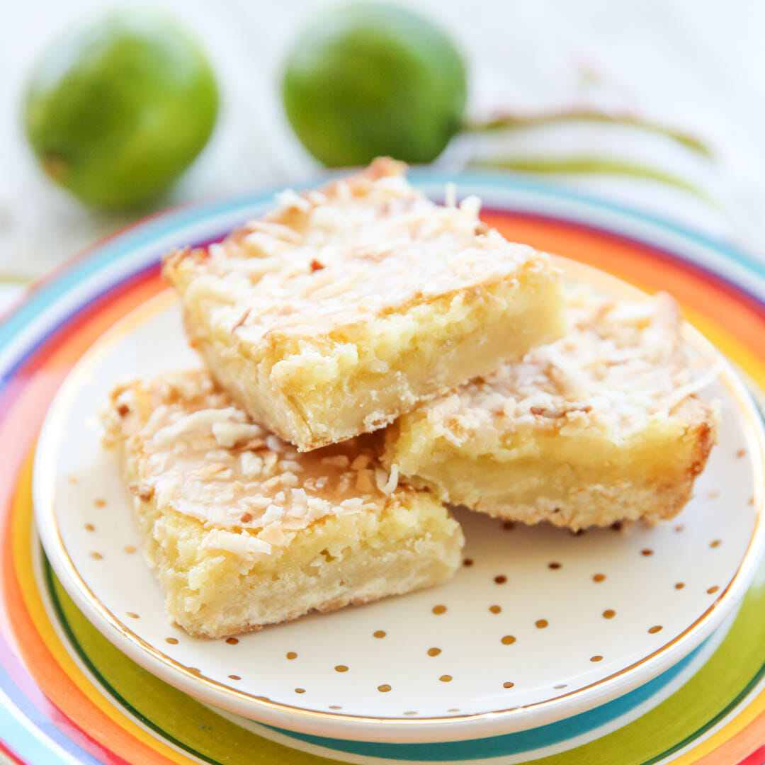 Lime Bars with Coconut Shortbread Crust
