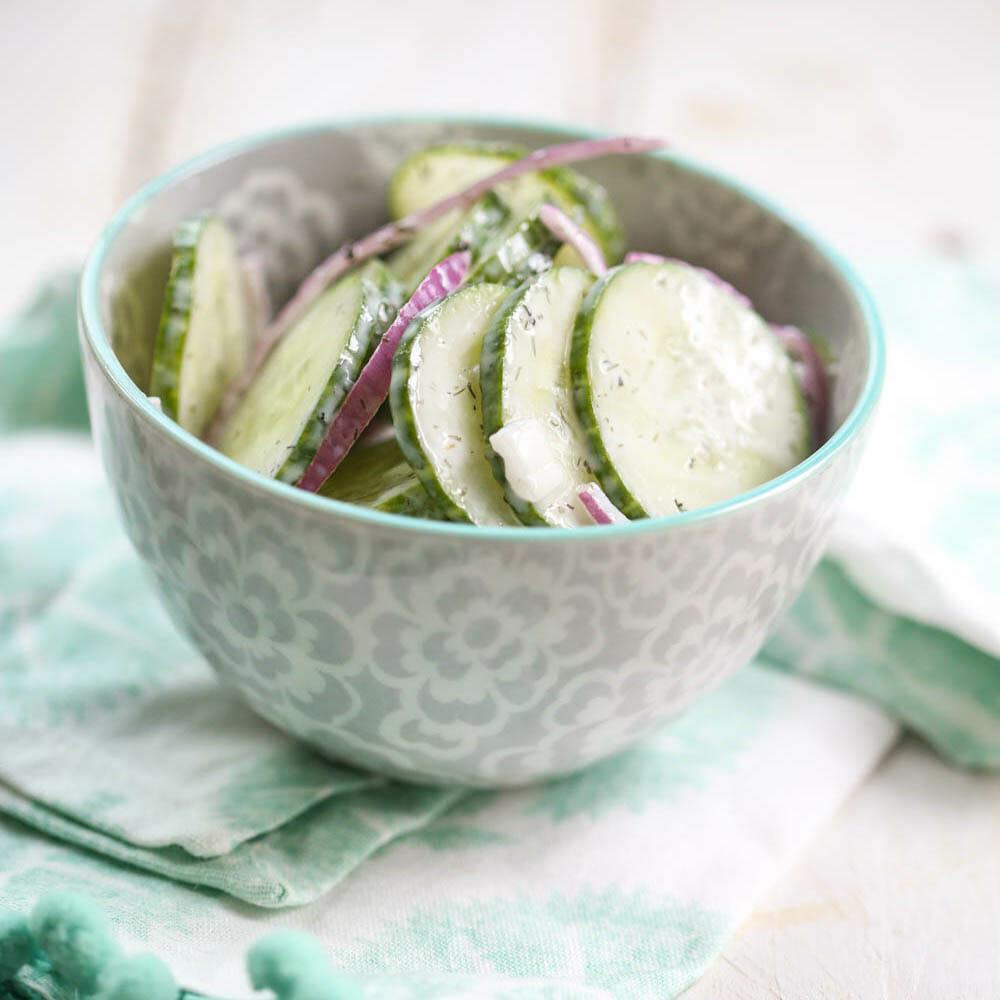 Creamy Cucumber Salad Makeahead Quinoa Party Salad Easy Recipe