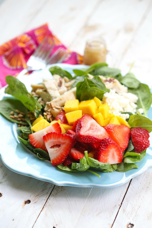 Strawberry-Mango Chicken Salad ready to eat