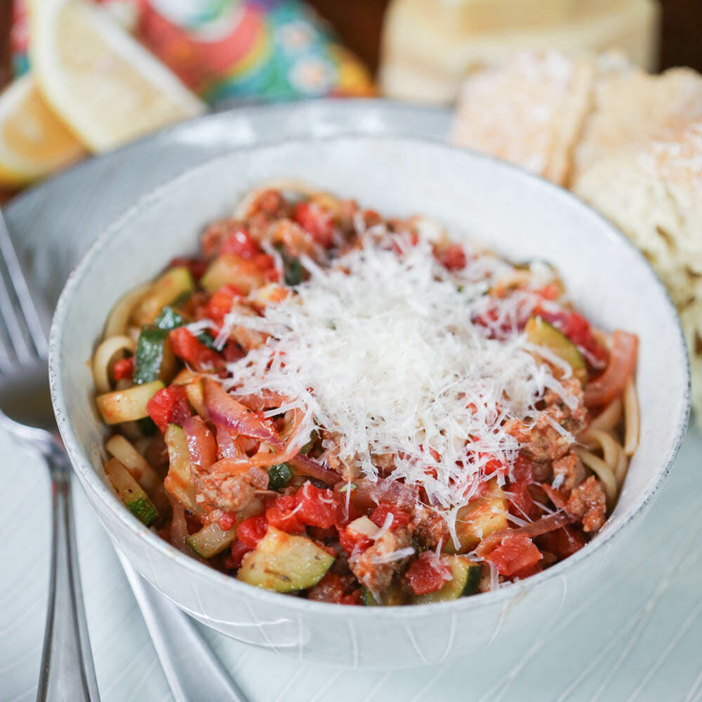 Italian Sausage and Zucchini Linguine