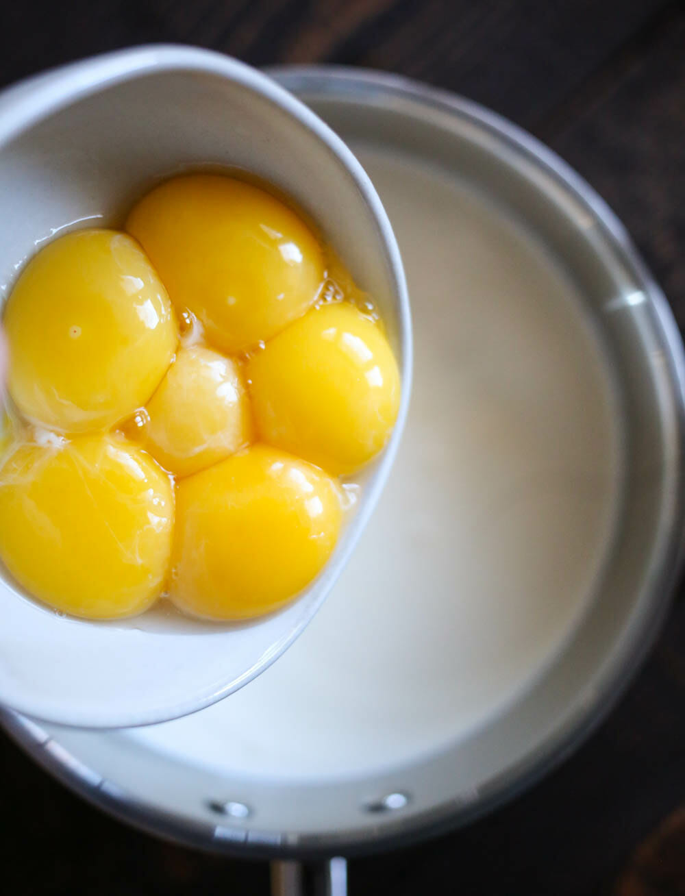 adding egg yolks