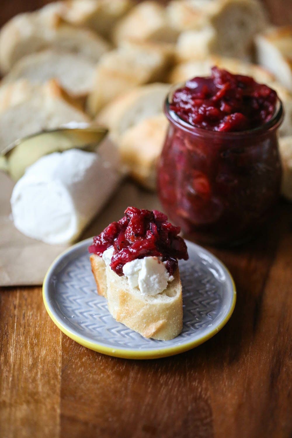 Onion Jam with Cranberries and Bacon and goat cheese on baguette