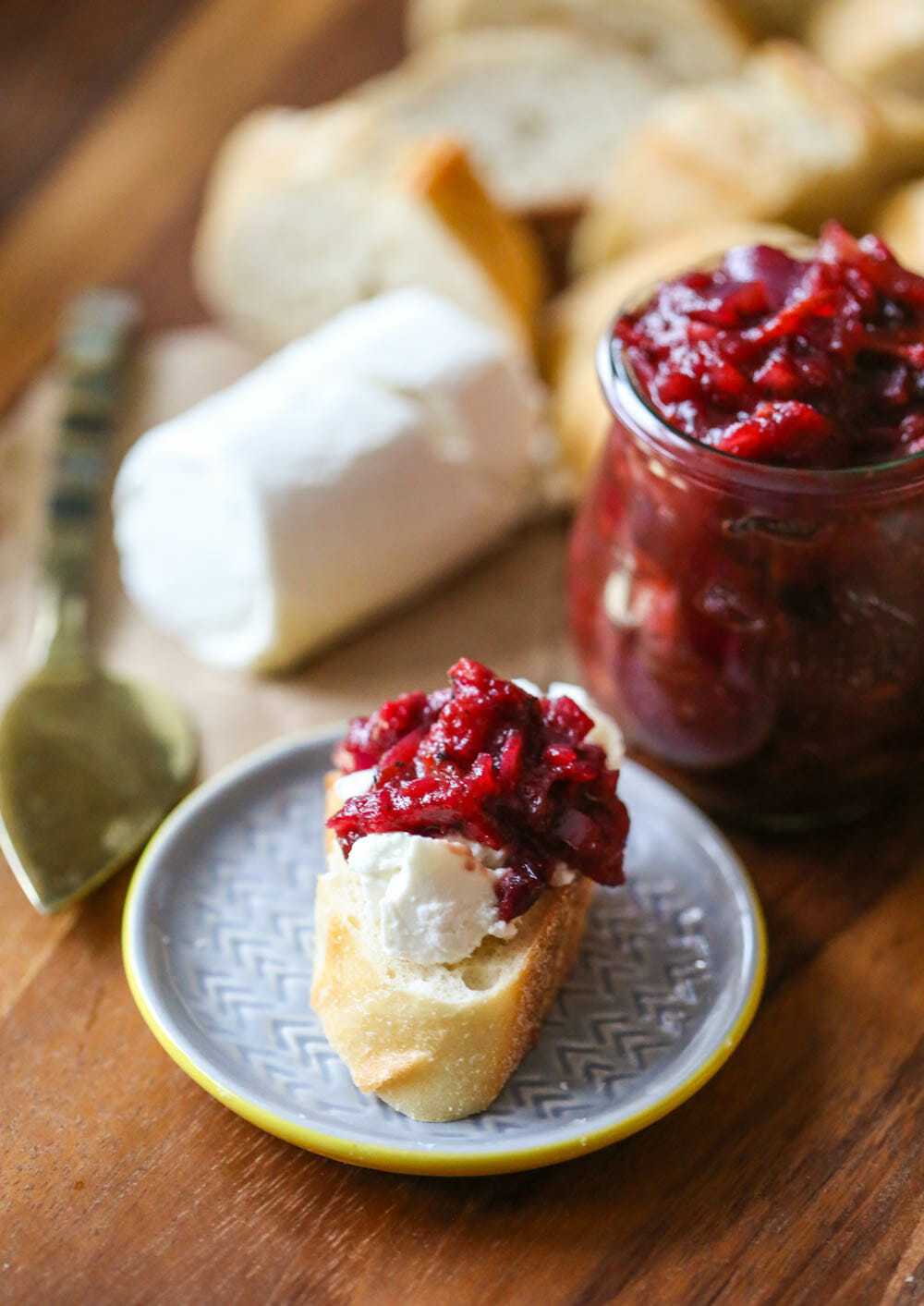 Onion Jam with Cranberries and Bacon and goat cheese on baguette 2
