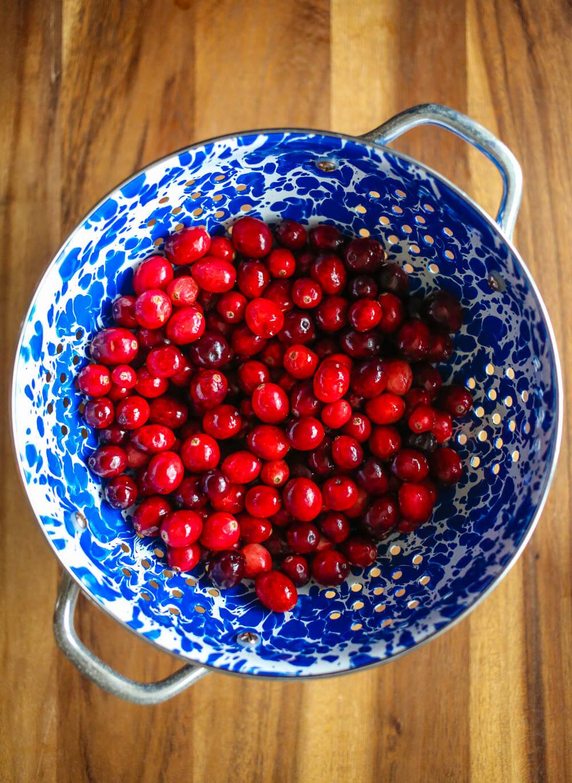 Cranberries in colander