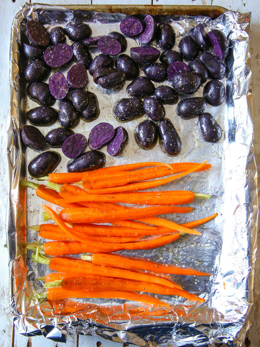 prepped veggies for roasting
