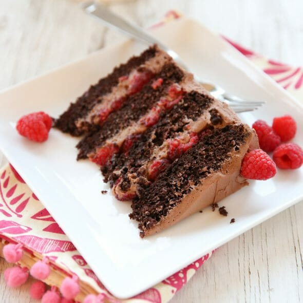 Chocolate Mousse Cake with Raspberries