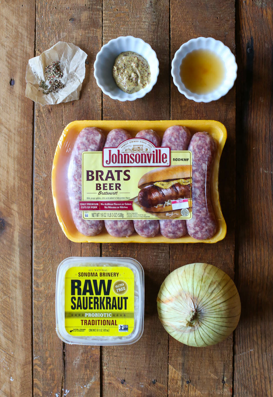 Ingredients for Bratwursts and Sauerkraut from Our Best Bites