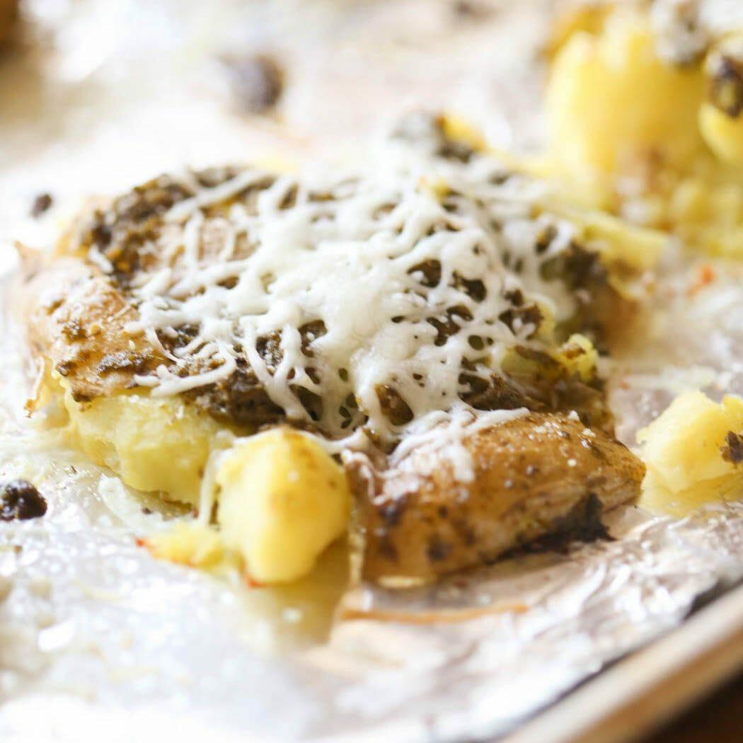 Cheesy Pesto Crash Hot Potatoes