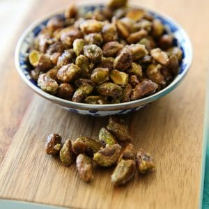 Candied Pistachios in Bowl