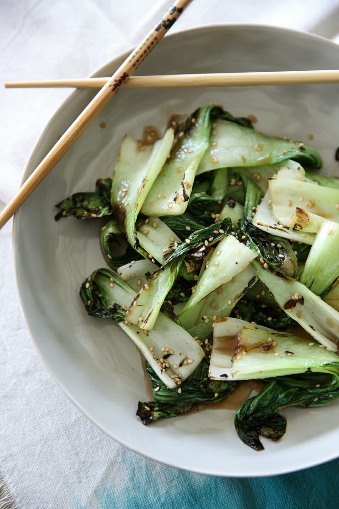 Grilled Honey Sesame Bok Choy plated