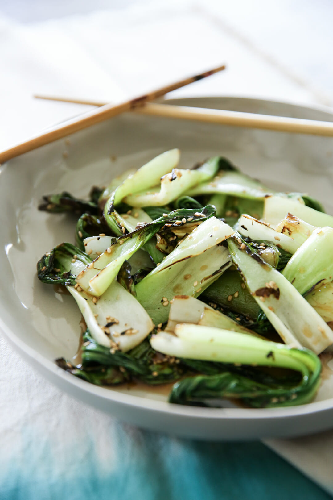 Grilled Honey Sesame Bok Choy in Bowl
