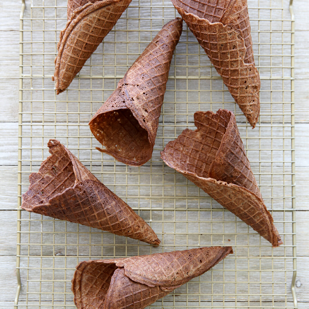 Homemade Chocolate Waffle Cones