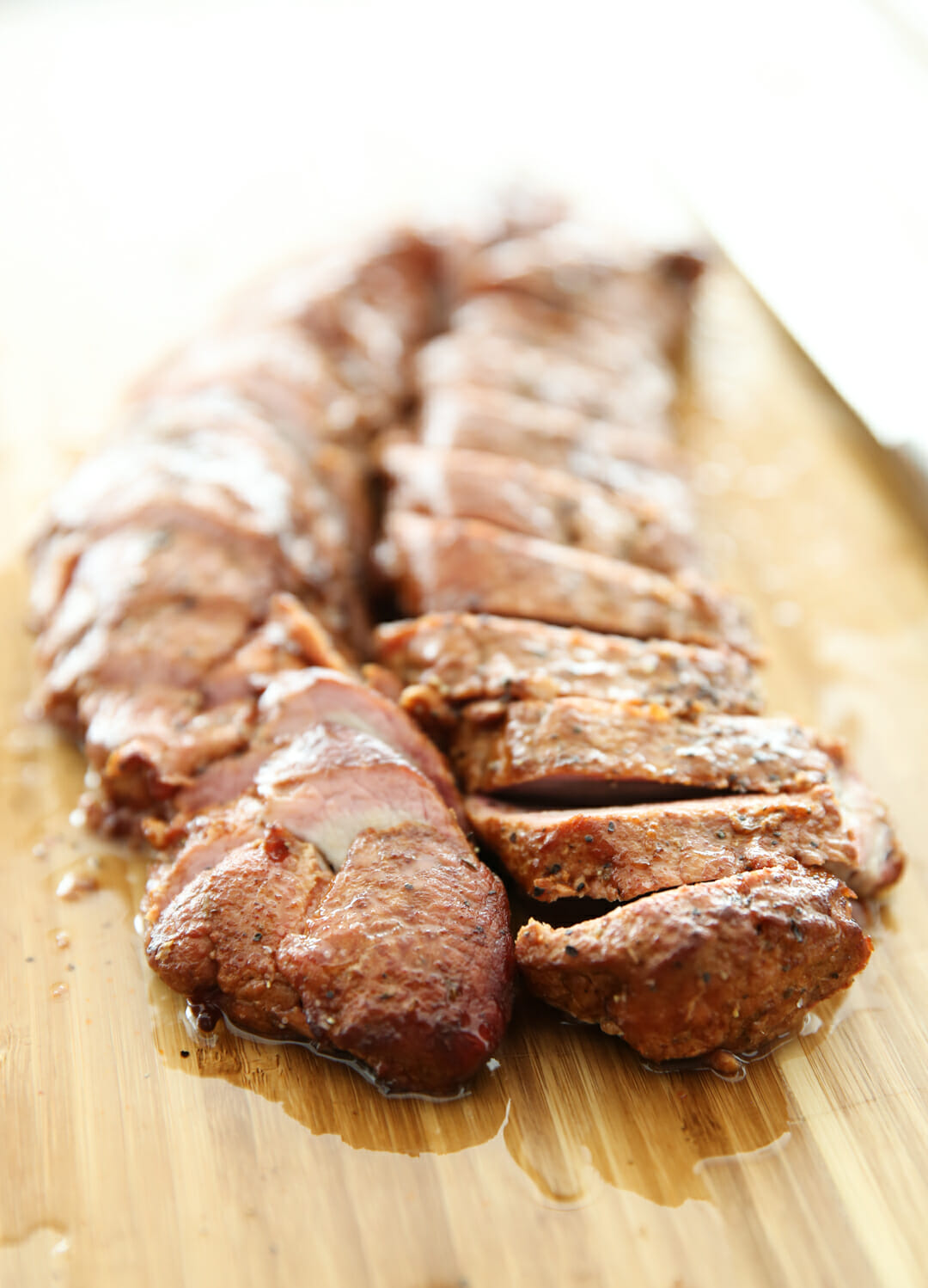 Smoked Pork Tenderloin Recipe on Cutting Board