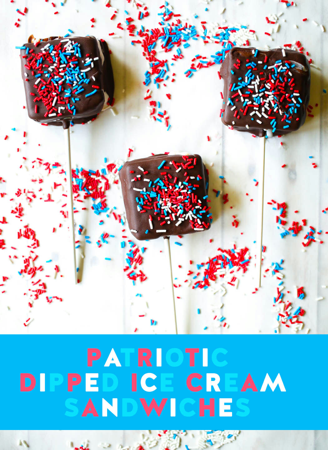 Patriotic Dipped Ice Cream Sandwiches