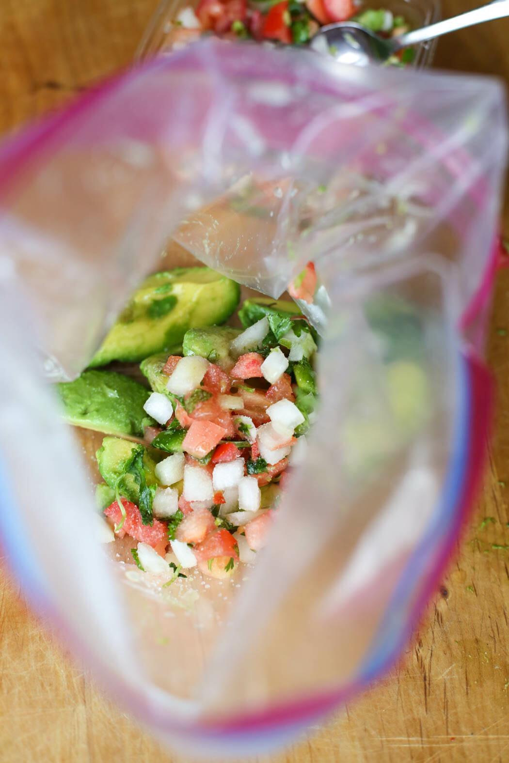 Guacamole ingredients in bag