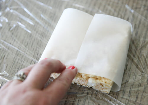 wrapping rice krispie treats