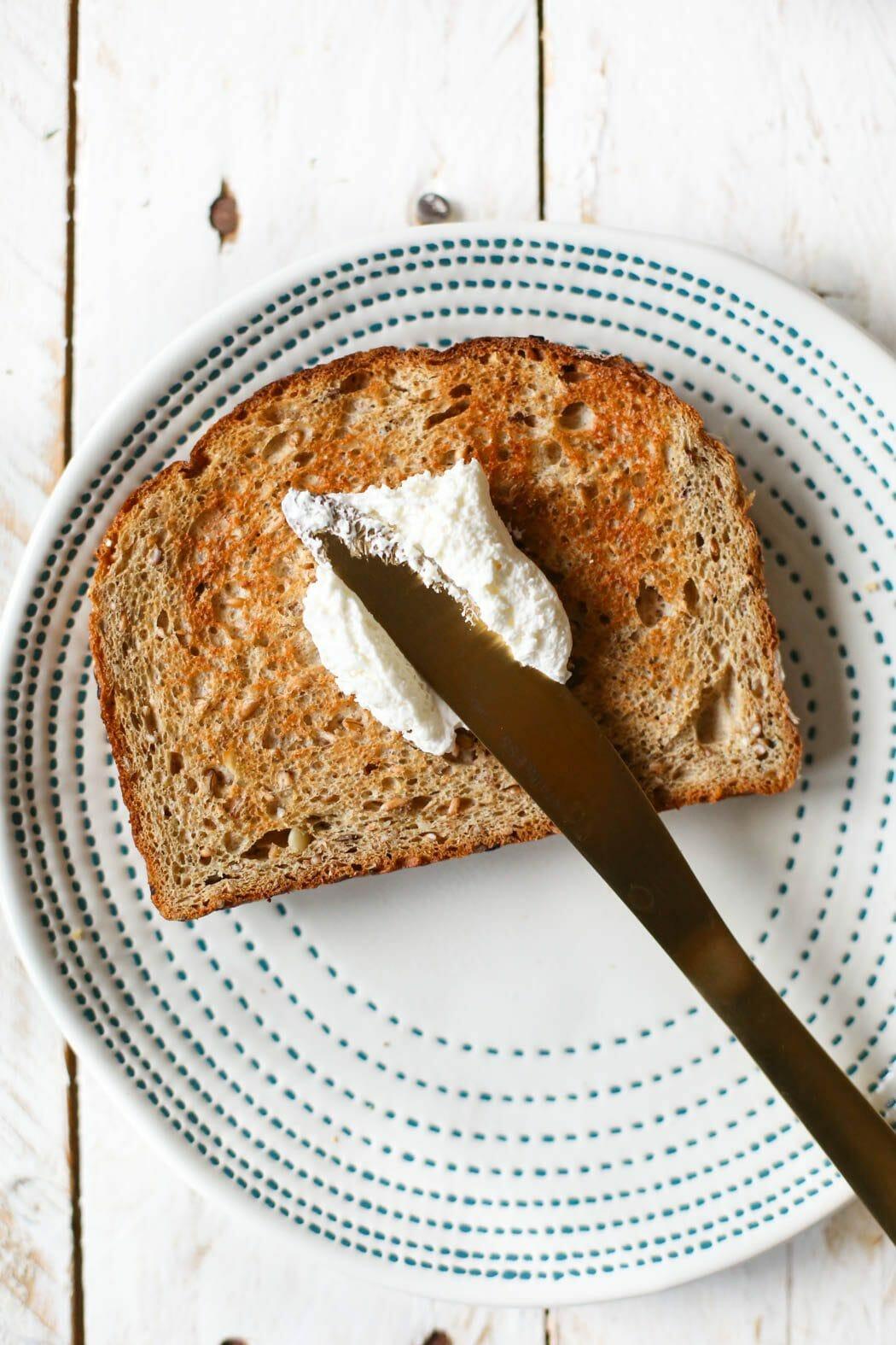 cream cheese on toast