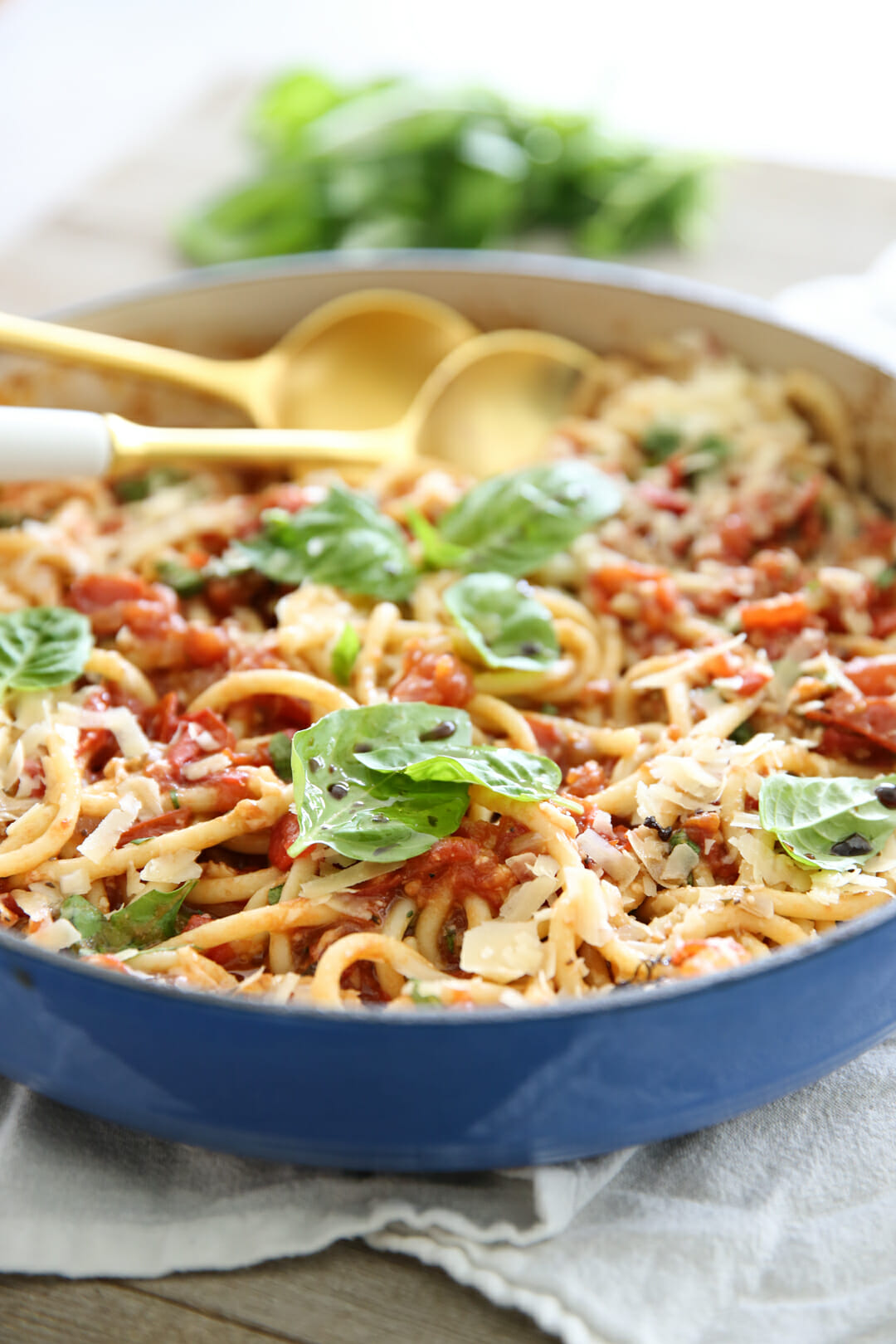 Tomato Basil Pasta in Pan