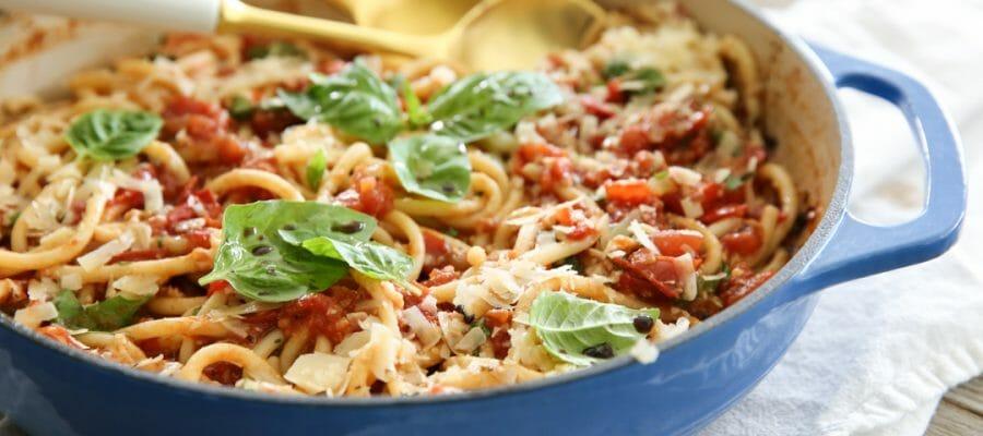 Fresh Tomato Basil Pasta in Pan