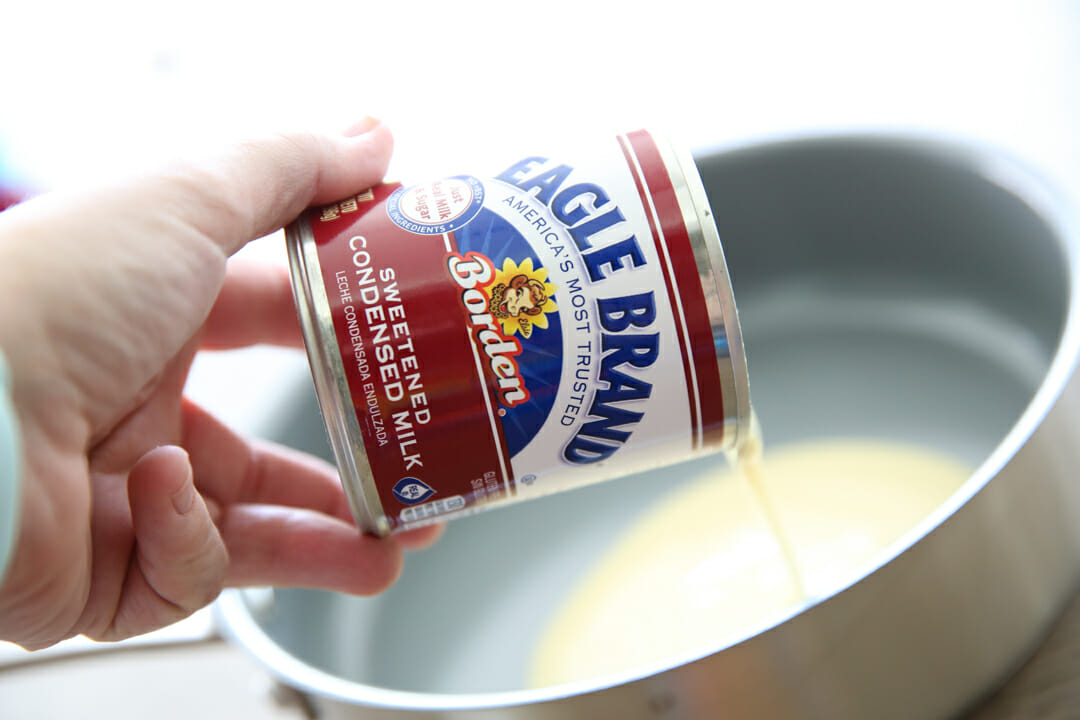 Sweetened Condensed Milk in pan