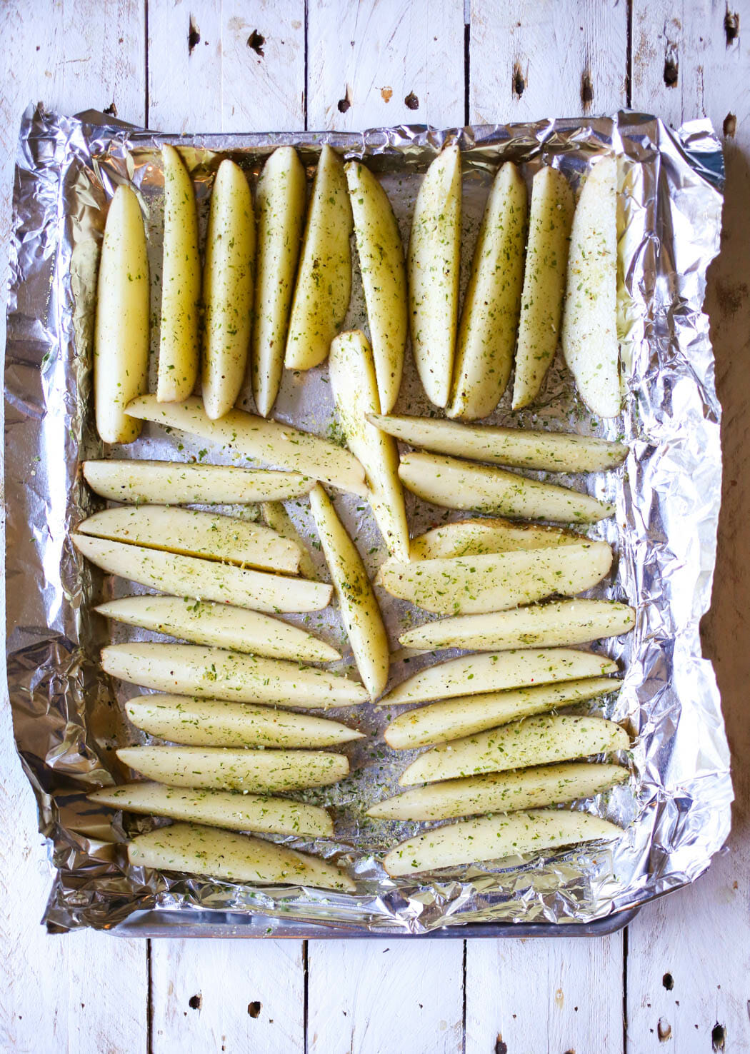 Oven wedges on baking sheet