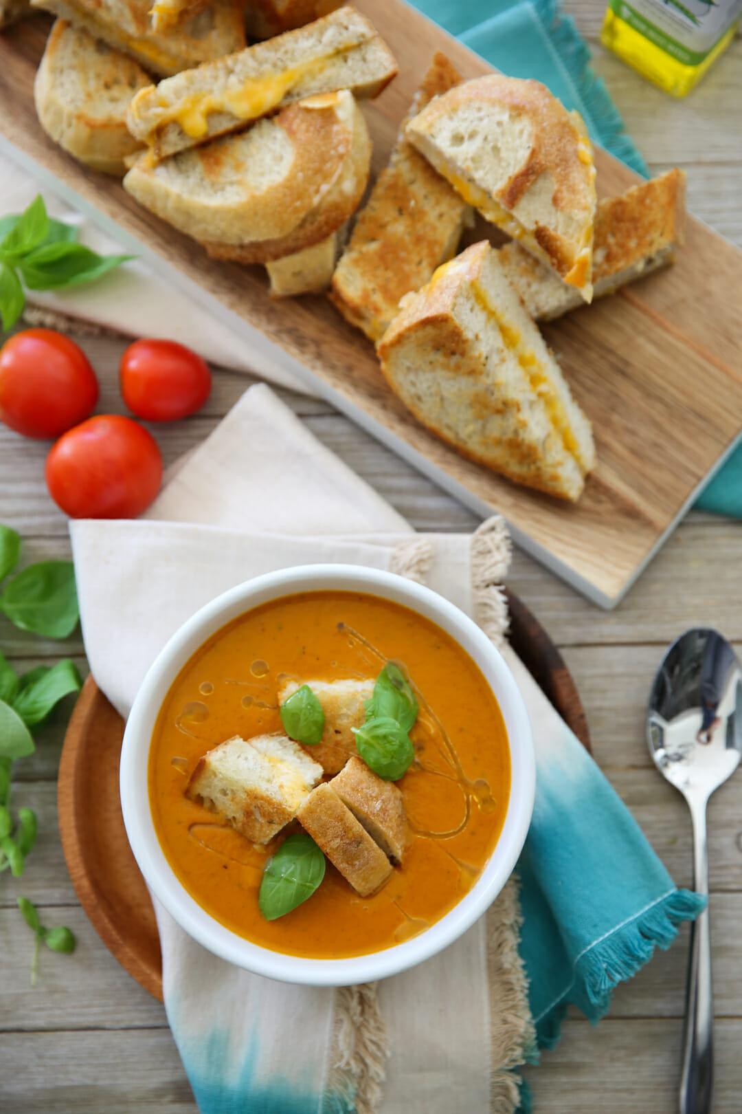 Pressure Cooker Tomato Soup Recipe Overhead Shot