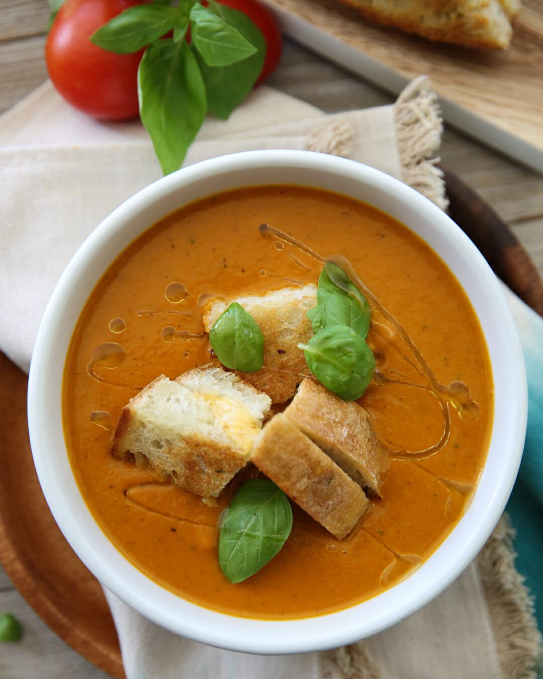 Pressure Cooker Tomato Soup Recipe with Croutons on Top