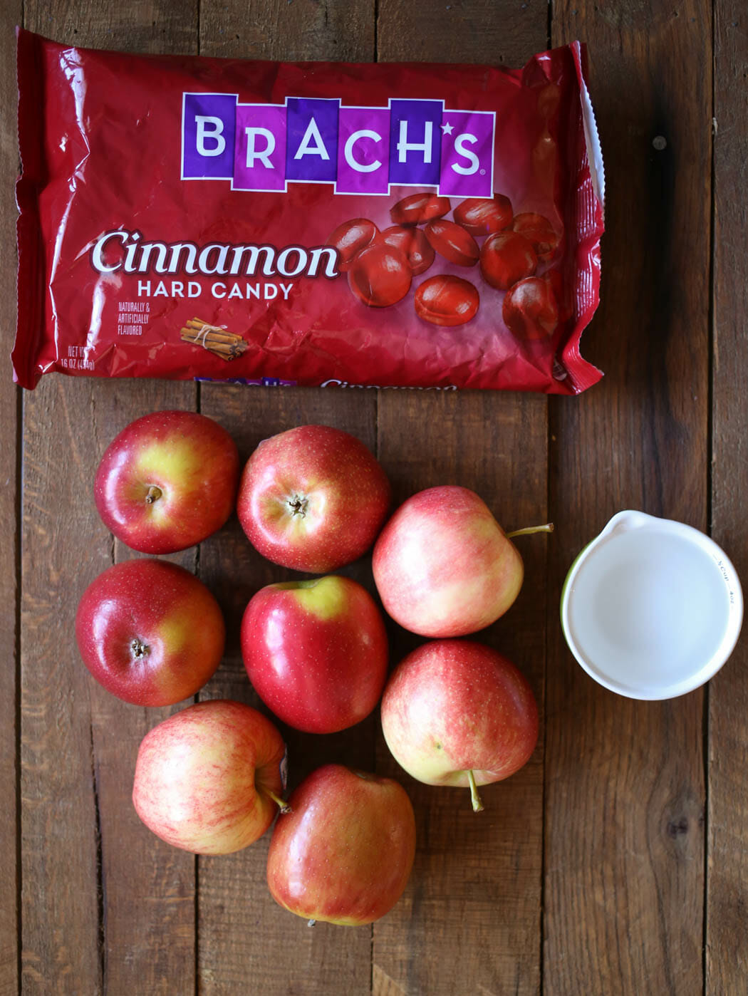 ingredients for cinnamon candy apples