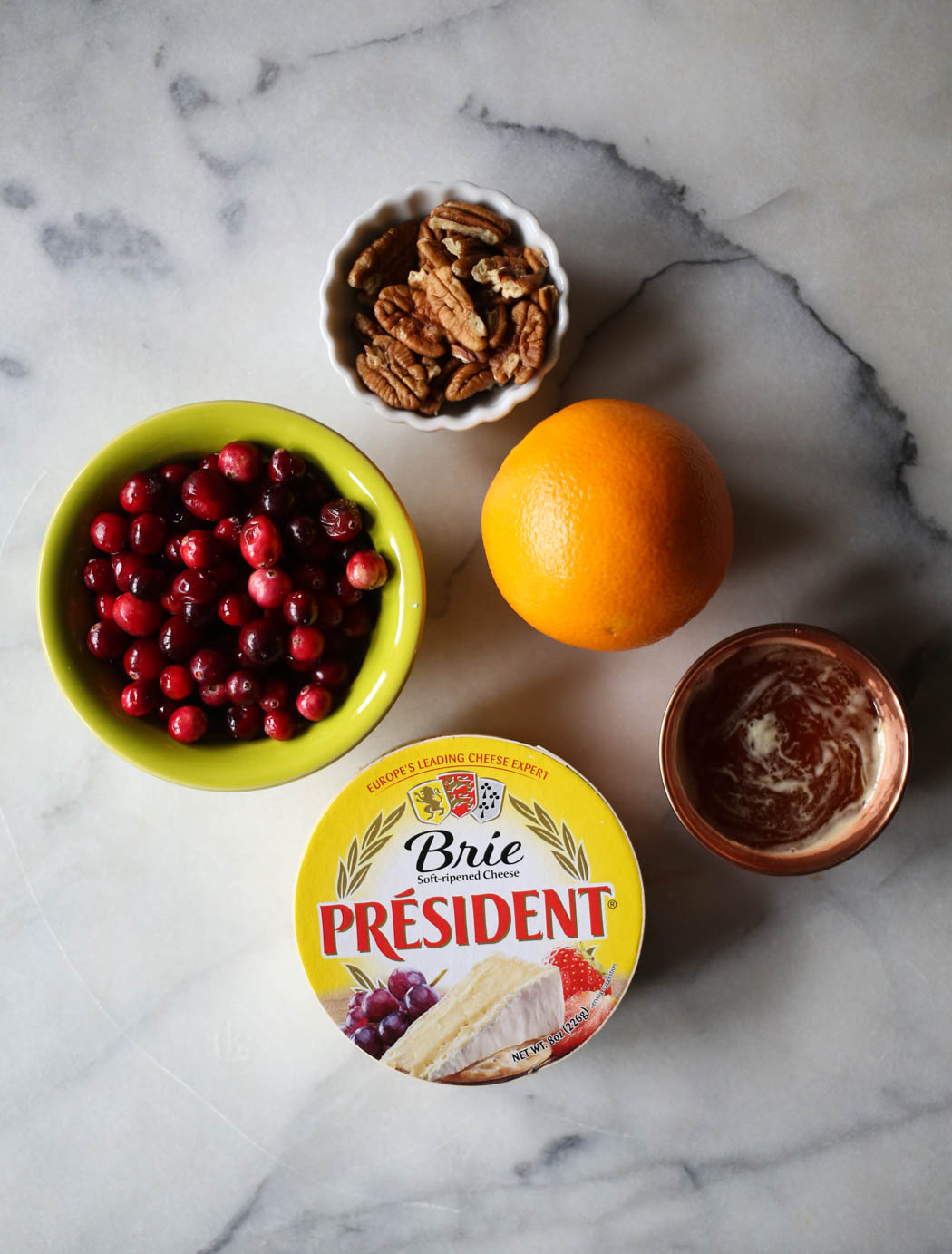 ingredients for orange cranberry baked brie
