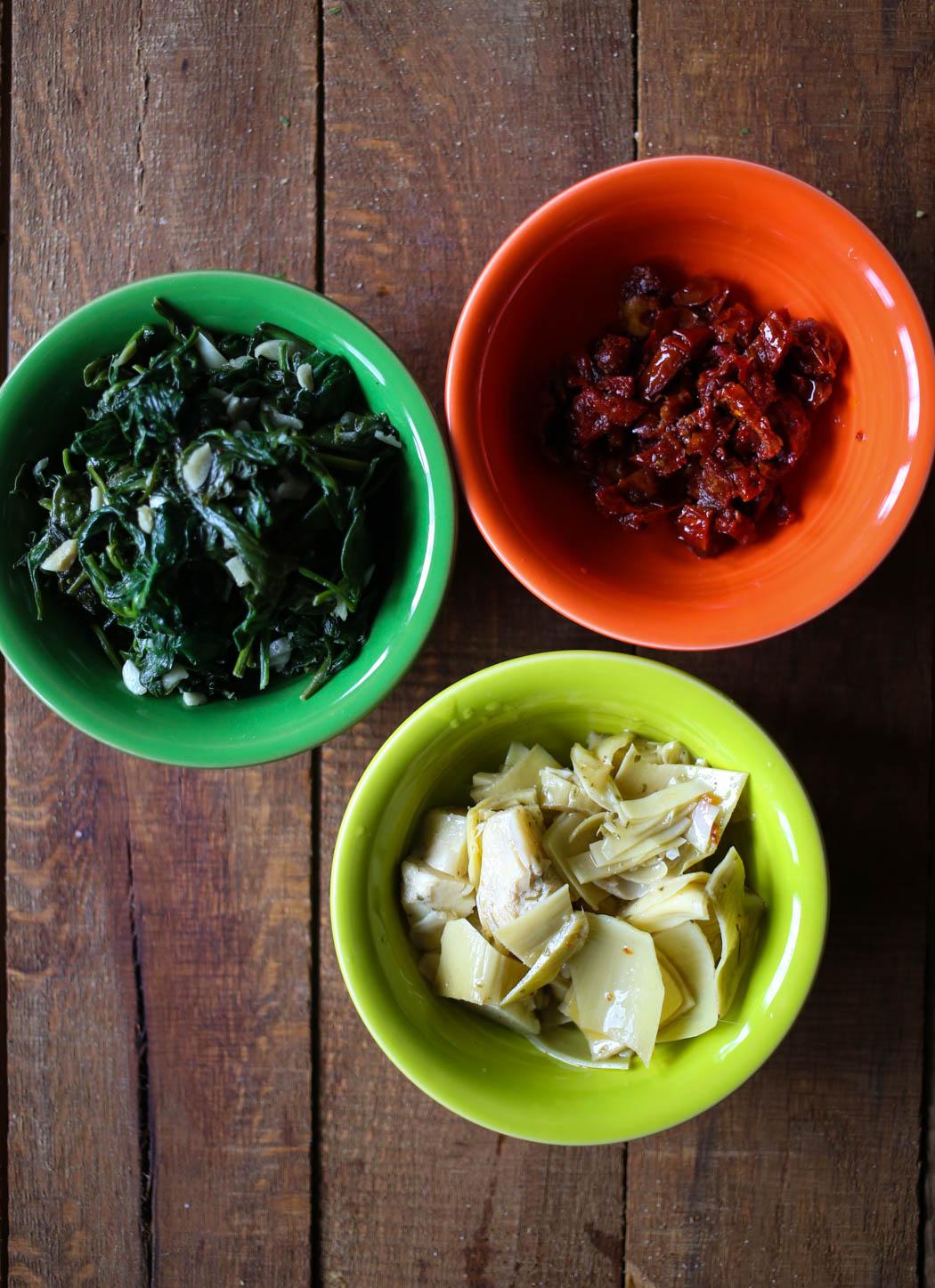 spinach, sun dried tomatoes, artichoke hearts