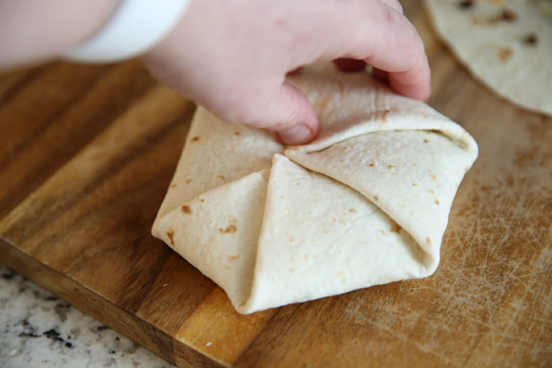 Beef and Cheese Crunch Wraps Folded on counter