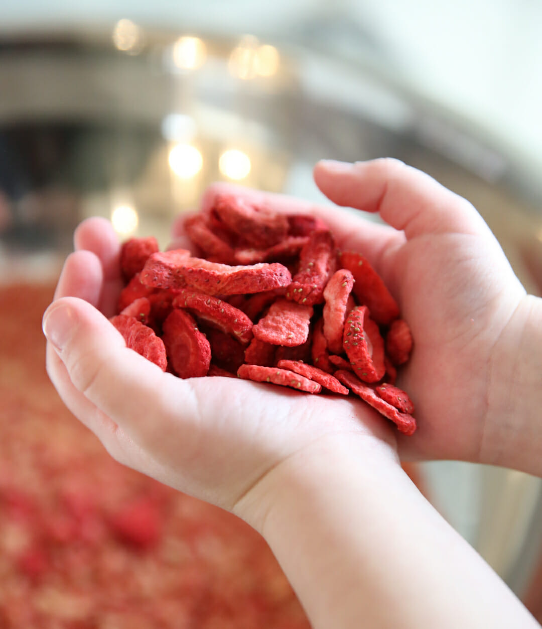 freeze dried berries in hands