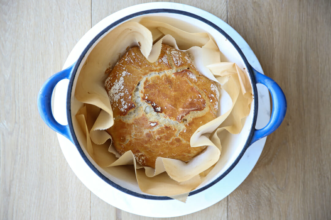 baked artisan bread in pot