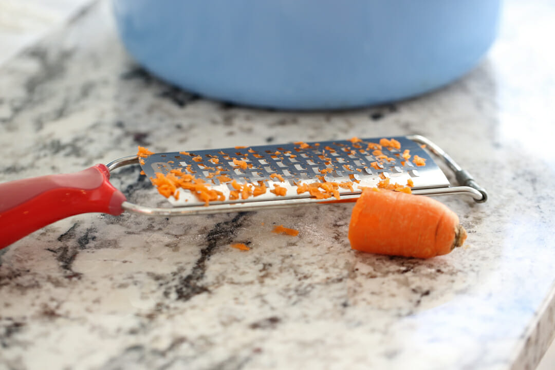 grated carrot on counter