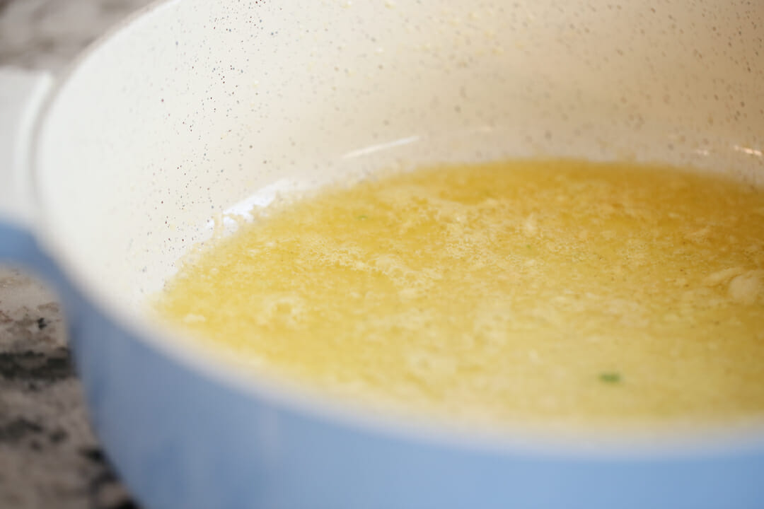 butter and garlic in pan