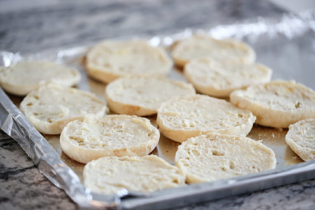 English muffins on sheet pan