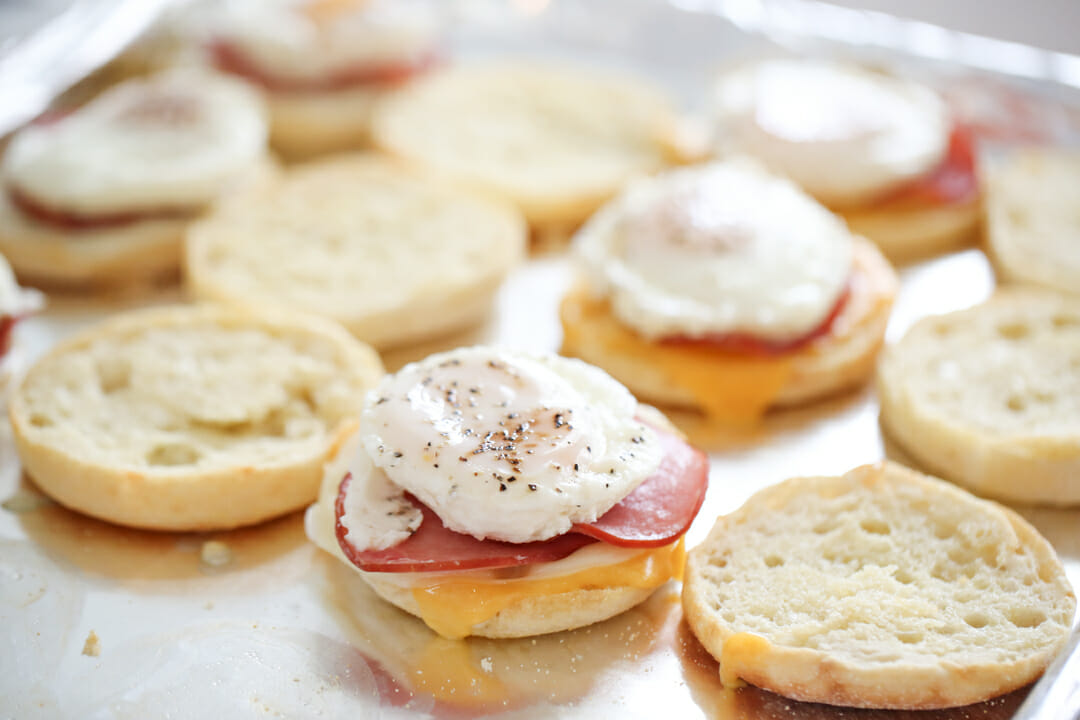 Poached eggs on sandwiches